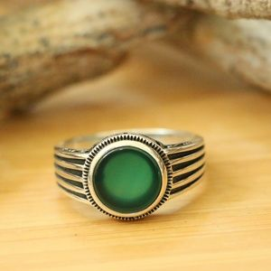 925 Sterling Silver Mens Rings Natural Green Agate